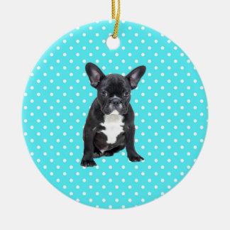 Cute French Bulldog Puppy Blue Polka Dots Ceramic Ornament