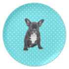 Cute French Bulldog Puppy Blue Polka Dots Plate