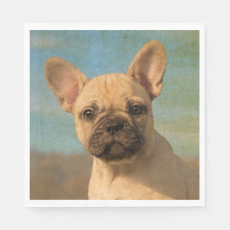 Cute French Bulldog Puppy - Funny Dog Head Photo . Disposable Napkin