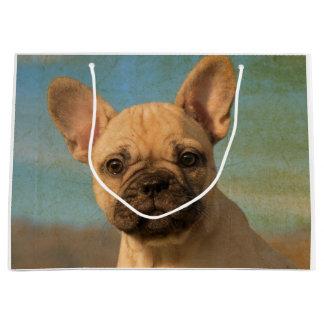 Cute French Bulldog Puppy - Funny Dog Head Photo . Large Gift Bag