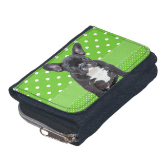 Cute French Bulldog Puppy Green Polka Dots Wallet