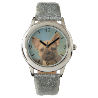 Cute French Bulldog Puppy Portrait - dial-plate Watch