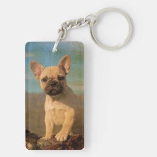 Cute French Bulldog puppy, vintage Keychain