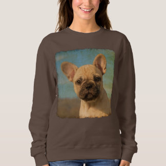 Cute French Bulldog Puppy Vintage Photo - classic Sweatshirt