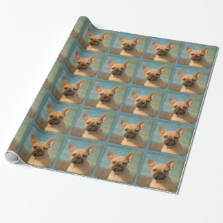 Cute French Bulldog Puppy Vintage Portrait - Gift Wrapping Paper
