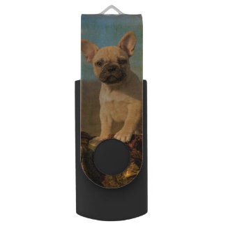 Cute French Bulldog puppy, vintage USB Flash Drive