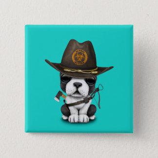 Cute French Bulldog Puppy Zombie Hunter 2 Inch Square Button