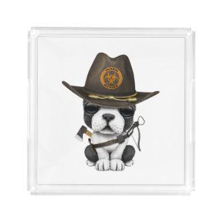 Cute French Bulldog Puppy Zombie Hunter Acrylic Tray