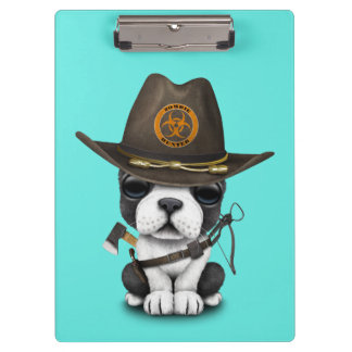 Cute French Bulldog Puppy Zombie Hunter Clipboard