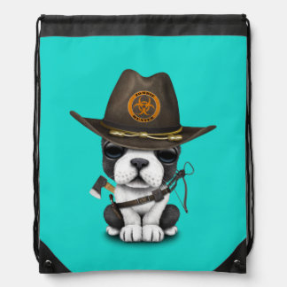 Cute French Bulldog Puppy Zombie Hunter Drawstring Bag