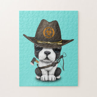Cute French Bulldog Puppy Zombie Hunter Jigsaw Puzzle