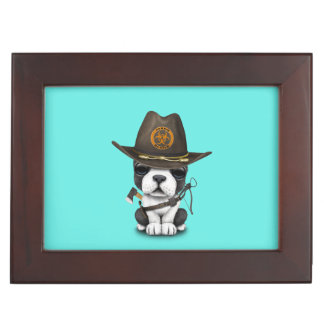 Cute French Bulldog Puppy Zombie Hunter Keepsake Box