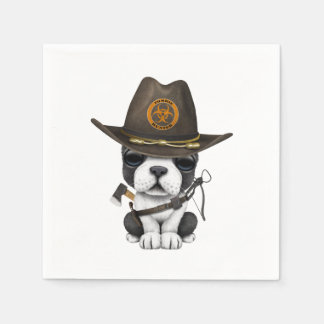 Cute French Bulldog Puppy Zombie Hunter Paper Napkin