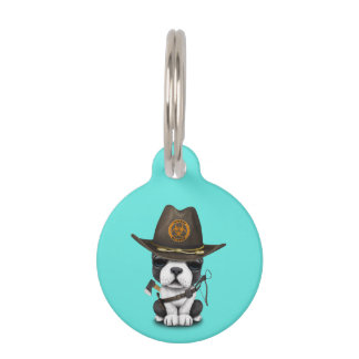 Cute French Bulldog Puppy Zombie Hunter Pet ID Tag