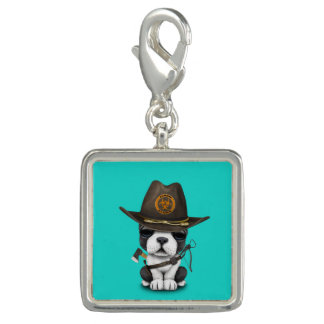 Cute French Bulldog Puppy Zombie Hunter Photo Charms