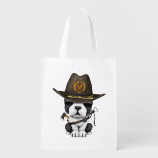 Cute French Bulldog Puppy Zombie Hunter Reusable Grocery Bag