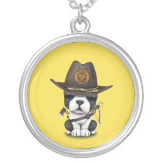 Cute French Bulldog Puppy Zombie Hunter Silver Plated Necklace