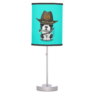 Cute French Bulldog Puppy Zombie Hunter Table Lamp