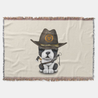 Cute French Bulldog Puppy Zombie Hunter Throw Blanket
