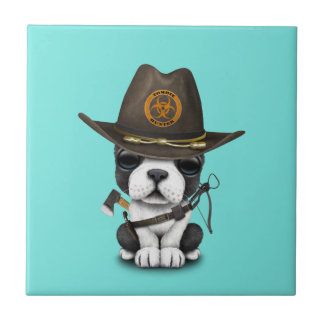 Cute French Bulldog Puppy Zombie Hunter Tile