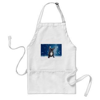Cute French Bulldog Snow Stars Blue Christmas Standard Apron