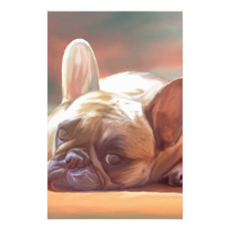 Cute French Bulldog Water Color Art Painting Customized Stationery