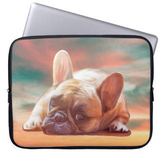Cute French Bulldog Water Color Art Painting Laptop Sleeve
