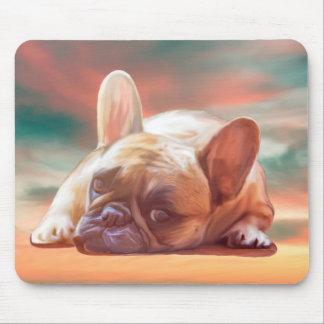 Cute French Bulldog Water Color Art Painting Mouse Pad