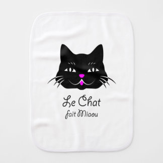 Cute French Cat Says Meow! Burp Cloths