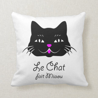 Cute French Cat Says Meow! Pillow