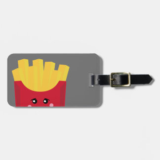 cute french fry with gray background luggage tag