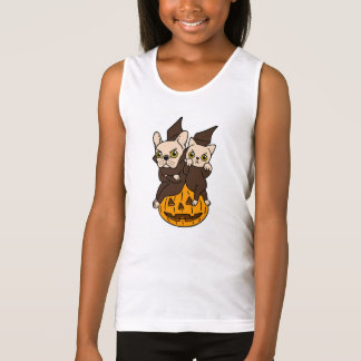 Cute Frenchie and kitten are Halloween buddies Tank Top