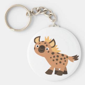 Cute Friendly Cartoon Hyena Basic Round Button Keychain