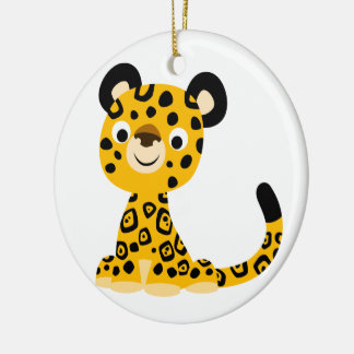 Cute Friendly Cartoon Jaguar Ceramic Ornament
