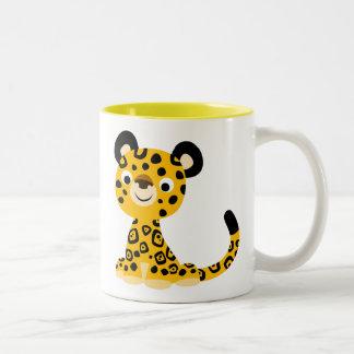 Cute Friendly Cartoon Jaguar Two-Tone Coffee Mug
