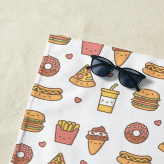 Cute Fries Pizza Burger Soda Ice Cream Hot Dog Beach Towel