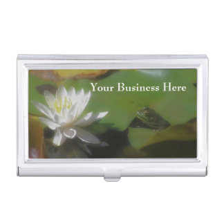 Cute Frog Admiring Lotus Flower Nature Business Card Case