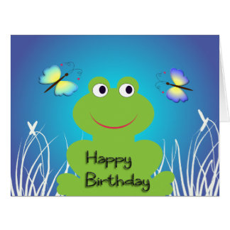 Cute frog and butterfly.Happy Birthday Card