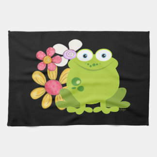 Cute Frog and Flowers Kitchen Towel