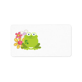 Cute Frog and Flowers Label