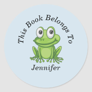 Cute Frog Back to School Round Classic Round Sticker