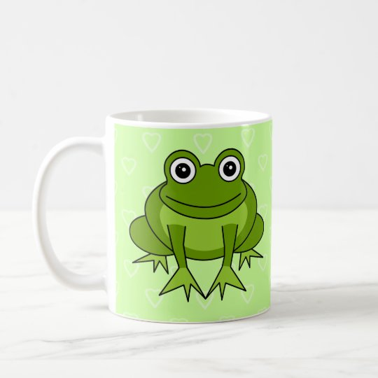 Cute Frog Cartoon Green Heart Mug