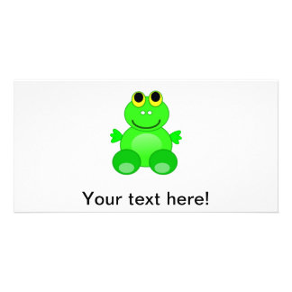 Cute frog cartoon personalized photo card