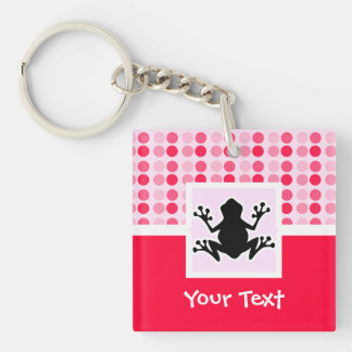 Cute Frog Double-Sided Square Acrylic Keychain