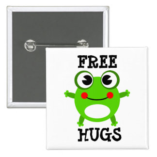 Cute Frog, Free Hugs Button
