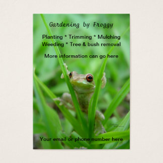 Cute frog Gardening landscaping Business Cards