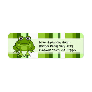 Cute Frog Green Stripe Return Address Labels