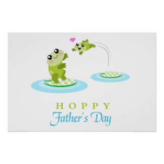Cute Frog Hoppy Happy Father's Day Poster