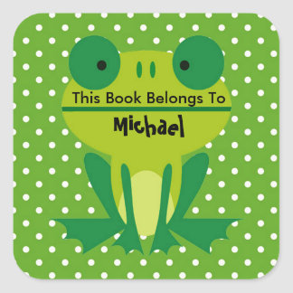 Cute Frog Lime Green And White Dotted Bookplate Square Sticker
