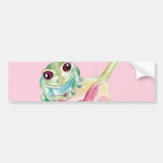 Cute Frog On Pink Bumper Sticker